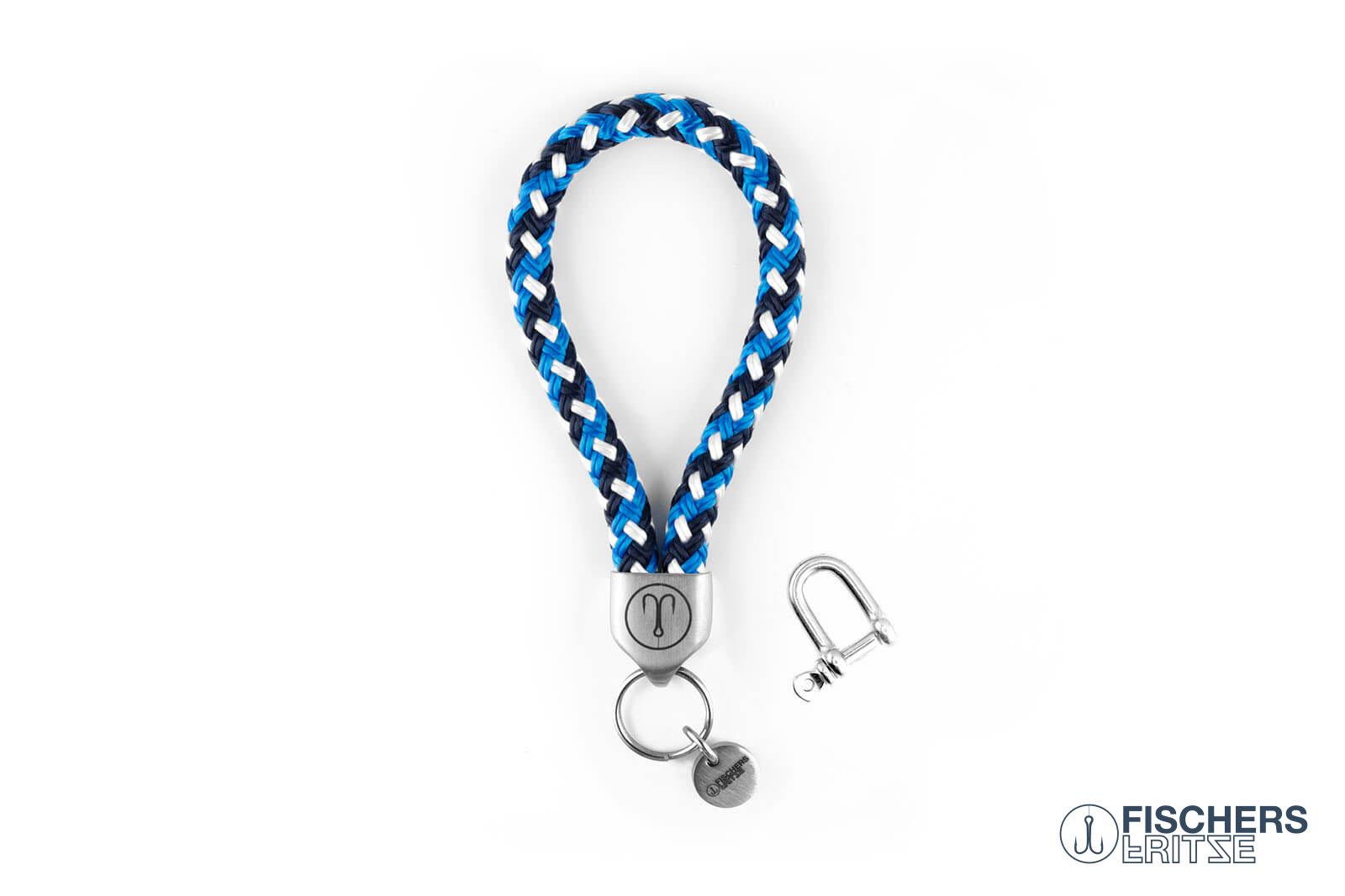 armband-fischers-fritze-dickerhering-blau gemustert-segeltau-schaekel