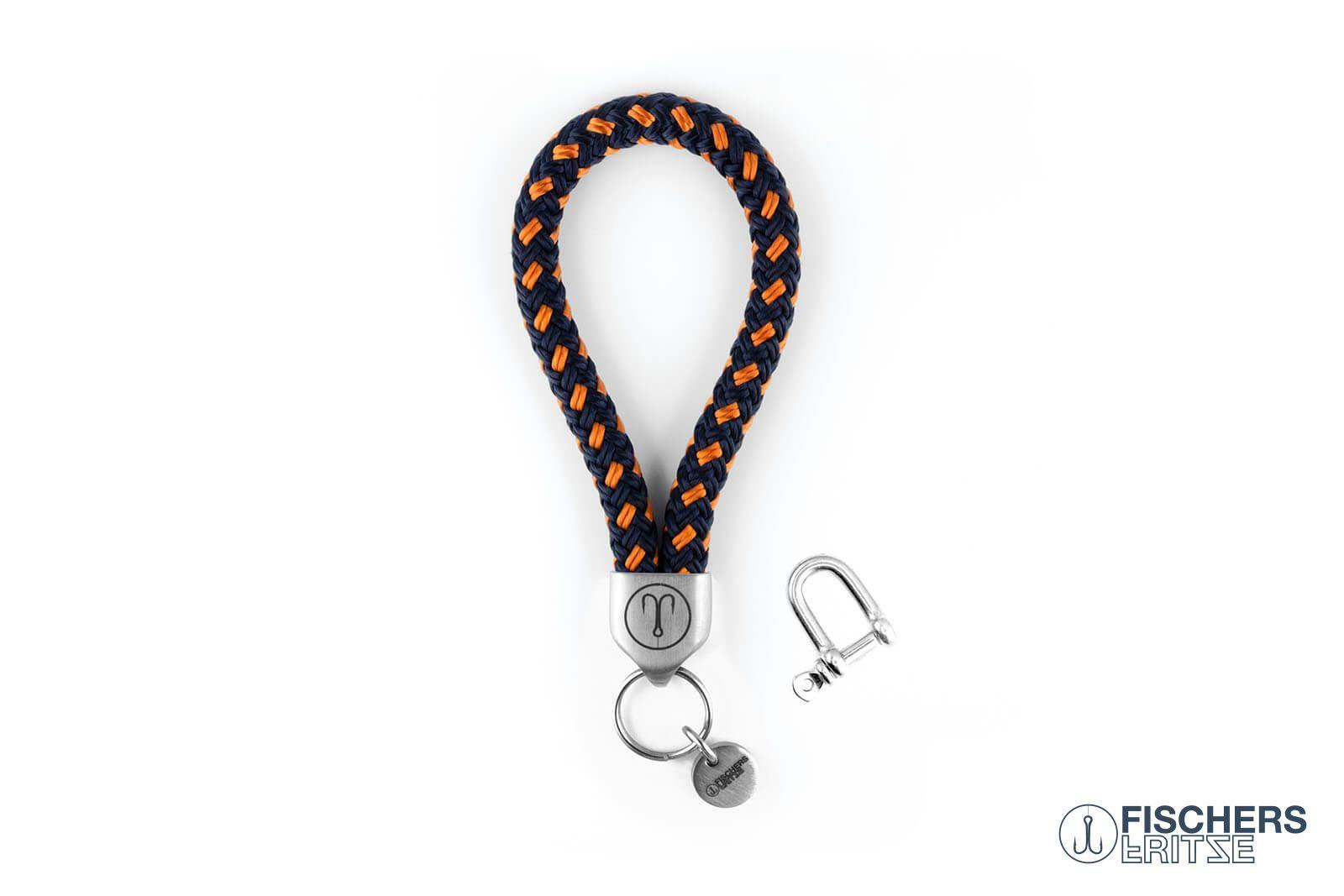 Schluesselanhaenger Segeltau Edelstahl Fischers Fritze marineblau orange mit Angelhaken Gravur
