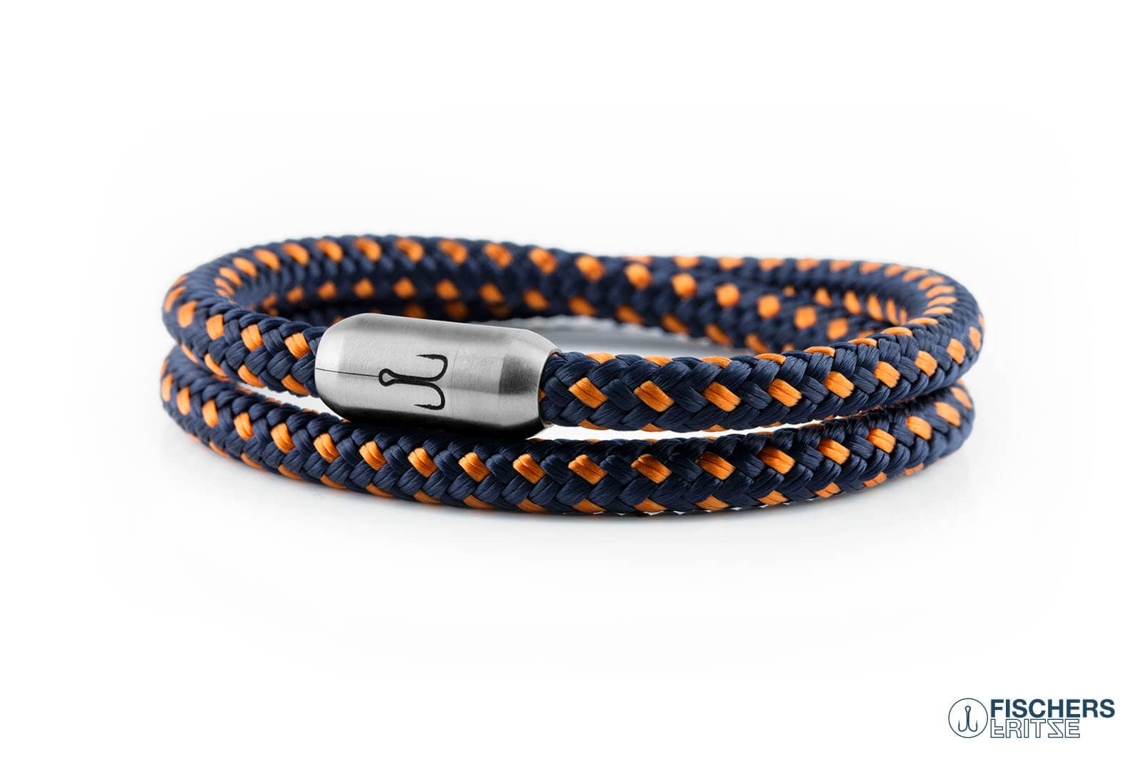Segeltau Armband Garnele Willi Marineblau Orange Fischers Fritze