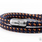 Wrapping Bracelet Fischers Fritze, sail Shrimprope navy blue orange, engraving stainless steel magnetic clasp