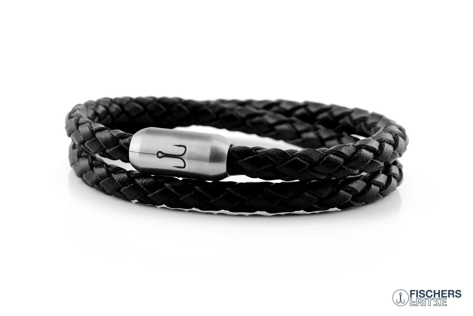 Wickelarmband Leder schwarz geflochten, Fischers Fritze Garnele, Gravur Edelstahl-Magnetverschluss