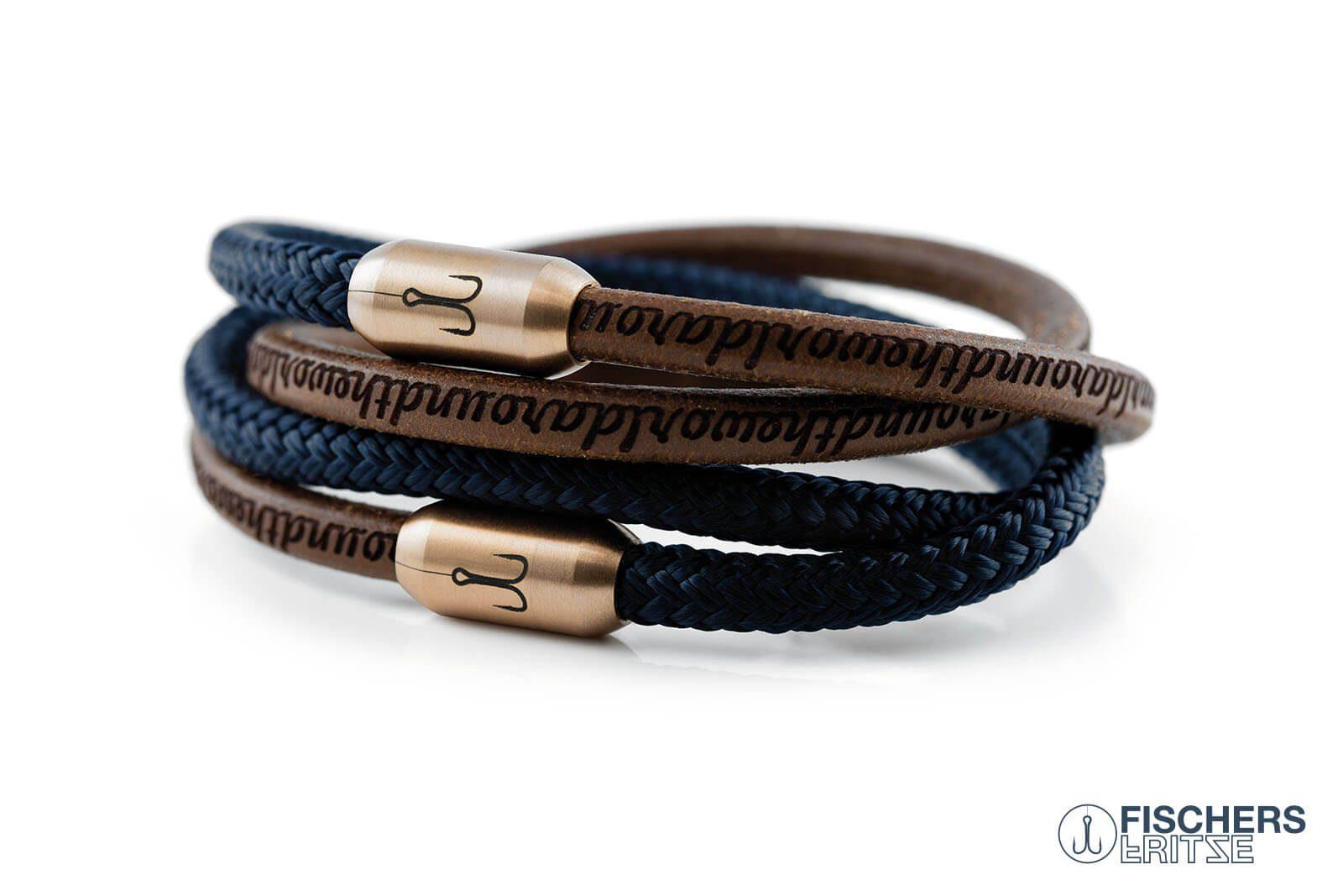 Armband Fischers Fritze Königsgarnele Kombination marineblau Segeltau Edelstahl Leder braun