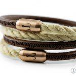 Armband Leder braun und Segeltau natur Fischers Fritze Koenigsgarnele rosegold, mit Leder Gravur aroundtheworld