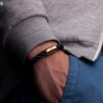 Armband Fischers Fritze Königsmakrele Segeltau gedreht marineblau Edelstahl Gravur
