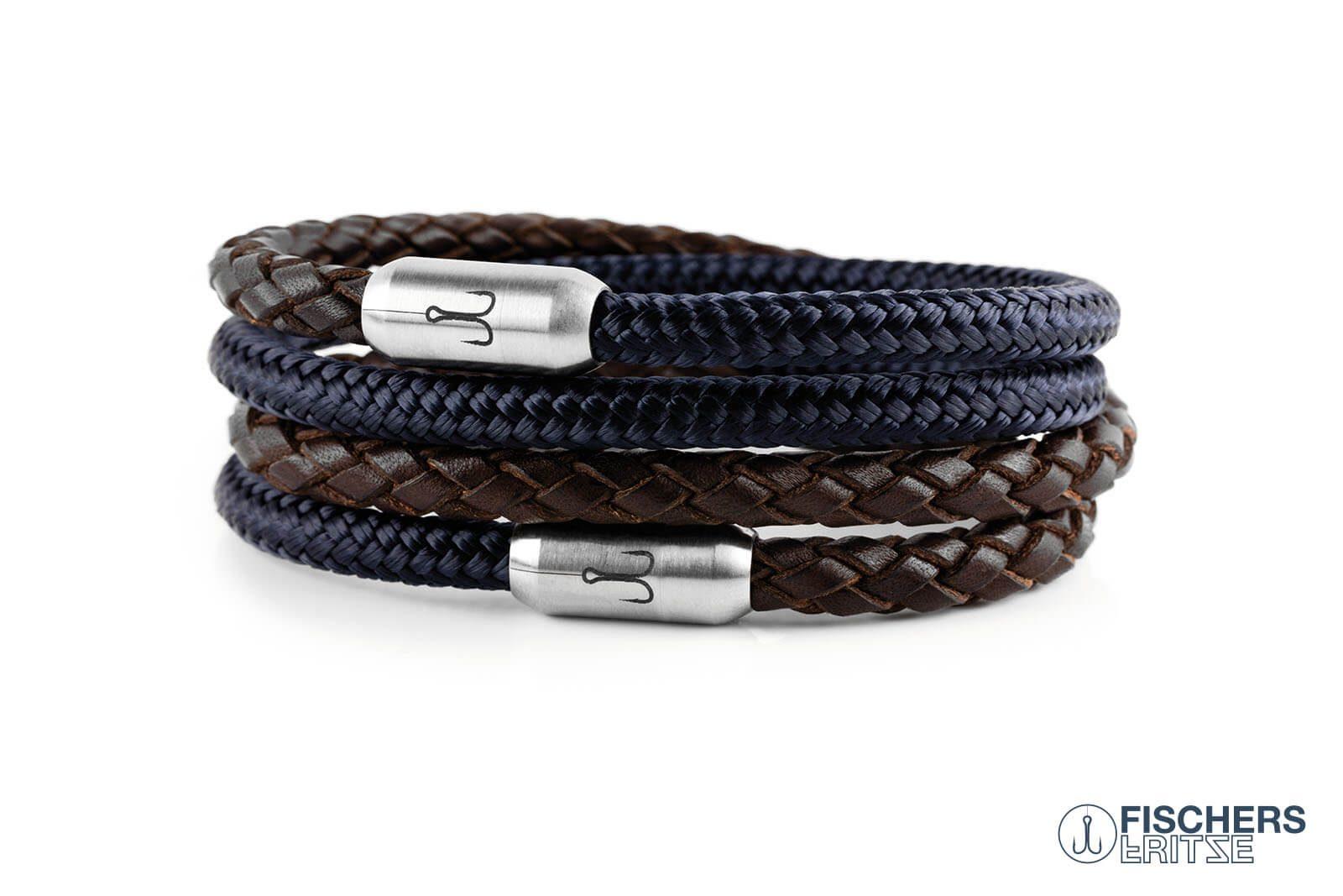Wickelarmband Kombination Leder braun geflochten und Segeltau marineblau mit Fischers Fritze Gravur