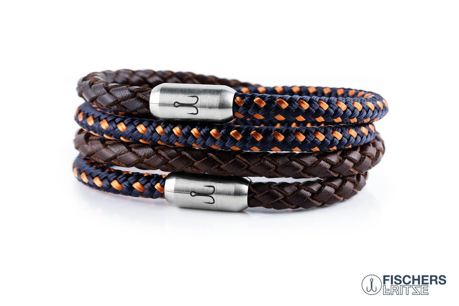 Wickelarmband Kombination Leder braun geflochten und Segeltau marineblau orange mit Fischers Fritze Gravur
