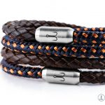 Fischers Fritze bracelet leather brown braided and canvas rope combination at wrist with stainless steel engraving