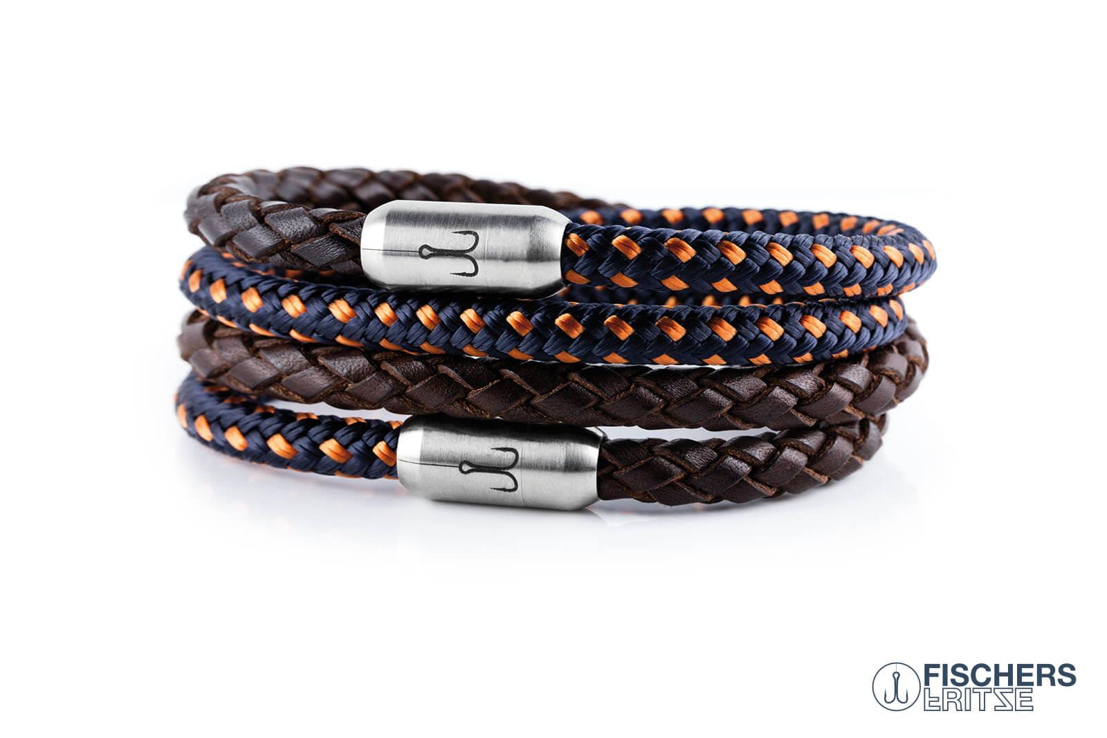 armband-fischers-fritze-kombigarnele-braun-geflochten-blau-orange-leder-segeltau