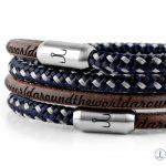 Armband Leder braun Segeltau Kombination Fischers Fritze, Garnele marineblau silbergrau und braunes Leder mit Gravur aroundtheworld