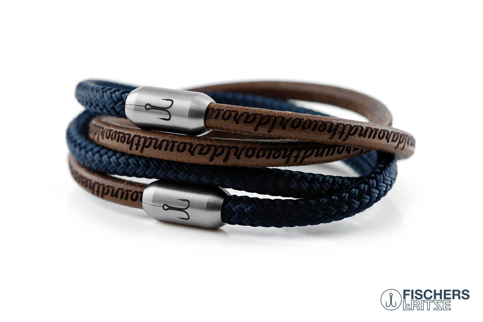 Armband Fischers Fritze Garnele Kombination Segeltau marineblau Edelstahl around the world Leder braun natur