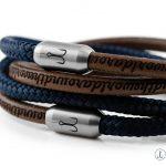 Armband Leder Segeltau Kombination Fischers Fritze, Garnele marineblau und braunes Leder mit Gravur aroundtheworld
