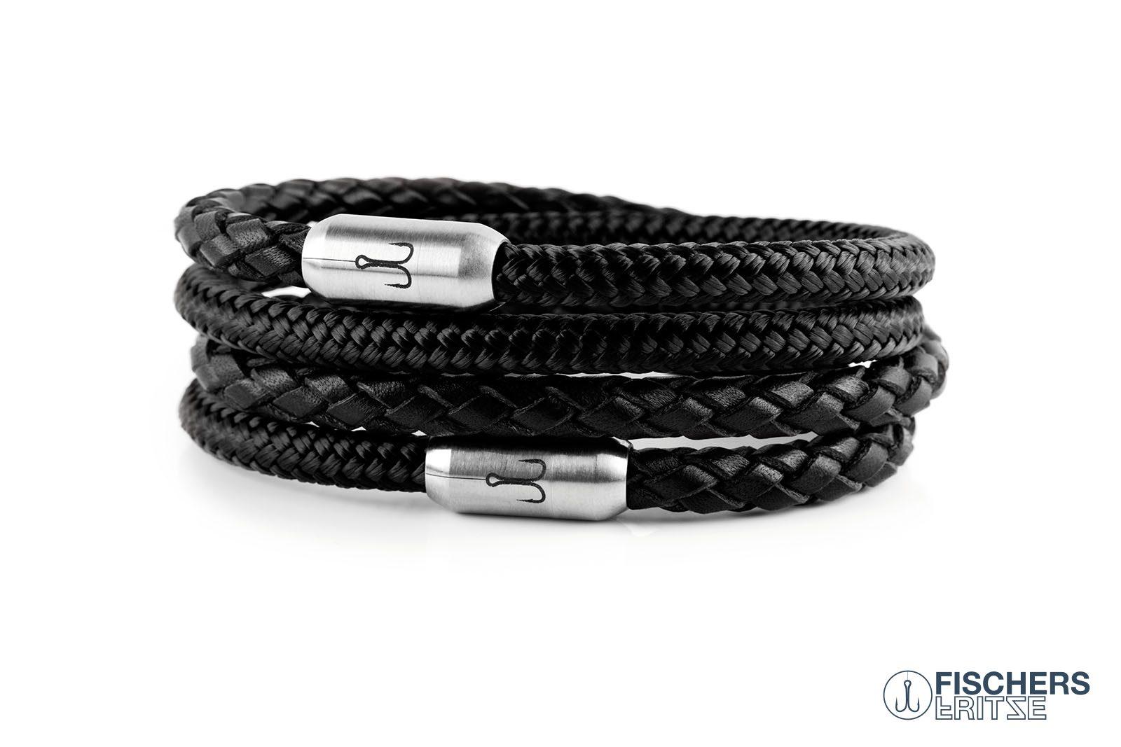 Wickelarmband Kombination Leder schwarz geflochten und Segeltau schwarz mit Fischers Fritze Gravur