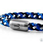 Maritimes Fischers Fritze Armband Segeltau, marineblau stahlblau weiss Angelhaken Gravur Verschluss silber