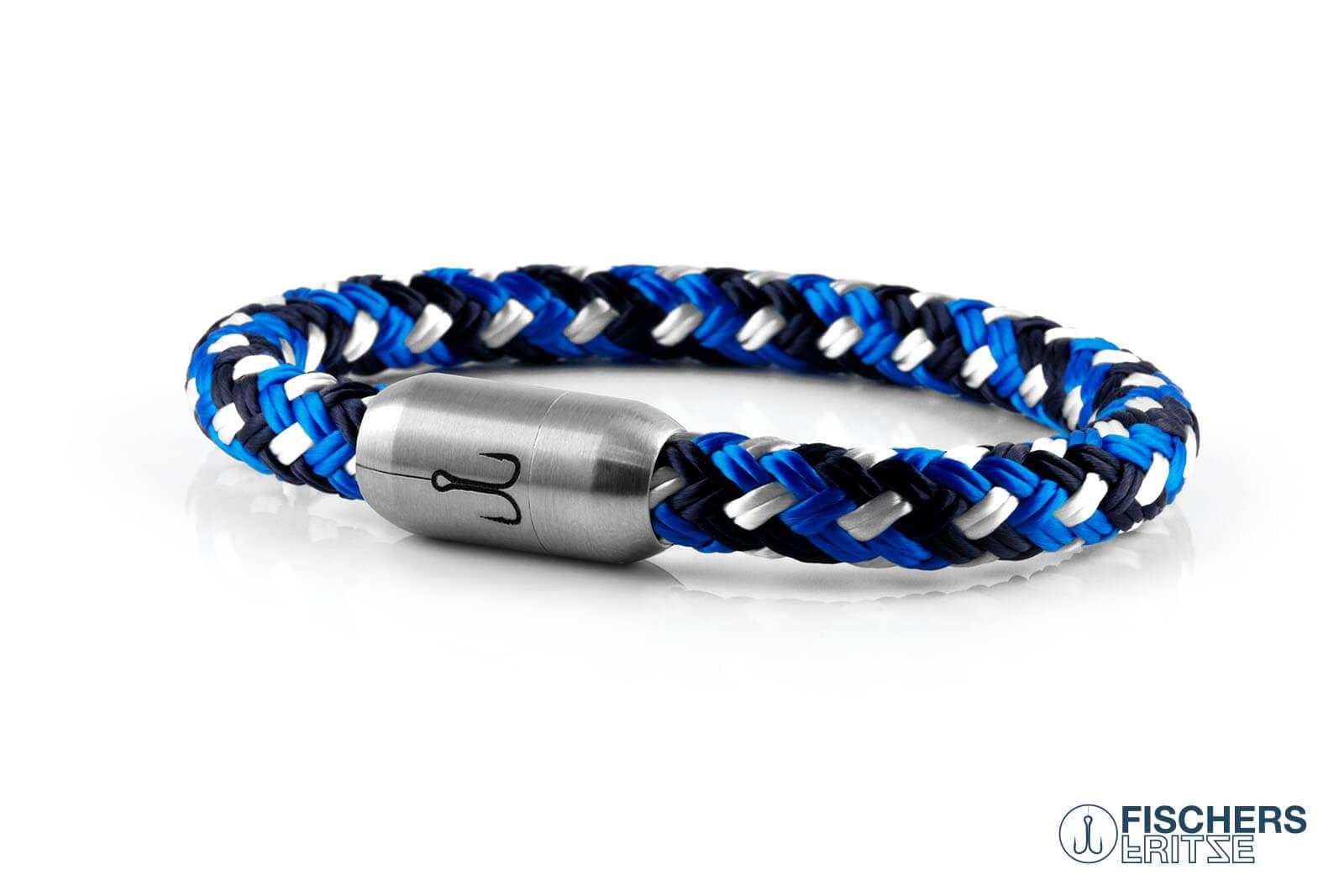 Segeltau Armband blau gemustert mit Edelstahlmagnetverschluss mit Ankergravur