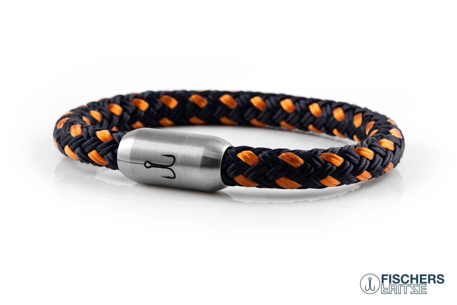 Geschlossenes Segeltau-Armband von Fischers Fritze, Makrele marineblau orange, Gravur auf silbernem Edelstahl-Magnetverschluss