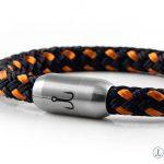 Armband aus Bootstau von Fischers Fritze Makrele marineblau orange, Edelstahlverschluss mit Gravur