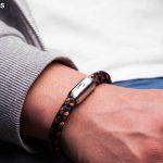Maritimes Armband aus Segeltau Makrele marineblau orange von Fischers Fritze am Handgelenk, Gravur auf Verschluss