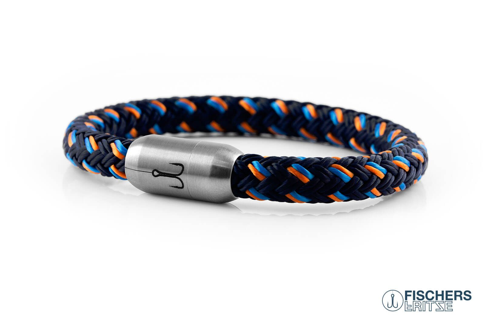 Armband Fischers Fritze Makrele aus Segeltau, marineblau orange stahlblau, Gravur in Edelstahl-Verschluss
