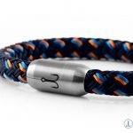 Bracelet Mackerelby Fischers Fritze in navy blue orange steel blue sail rope with stainless steel clasp Engraving