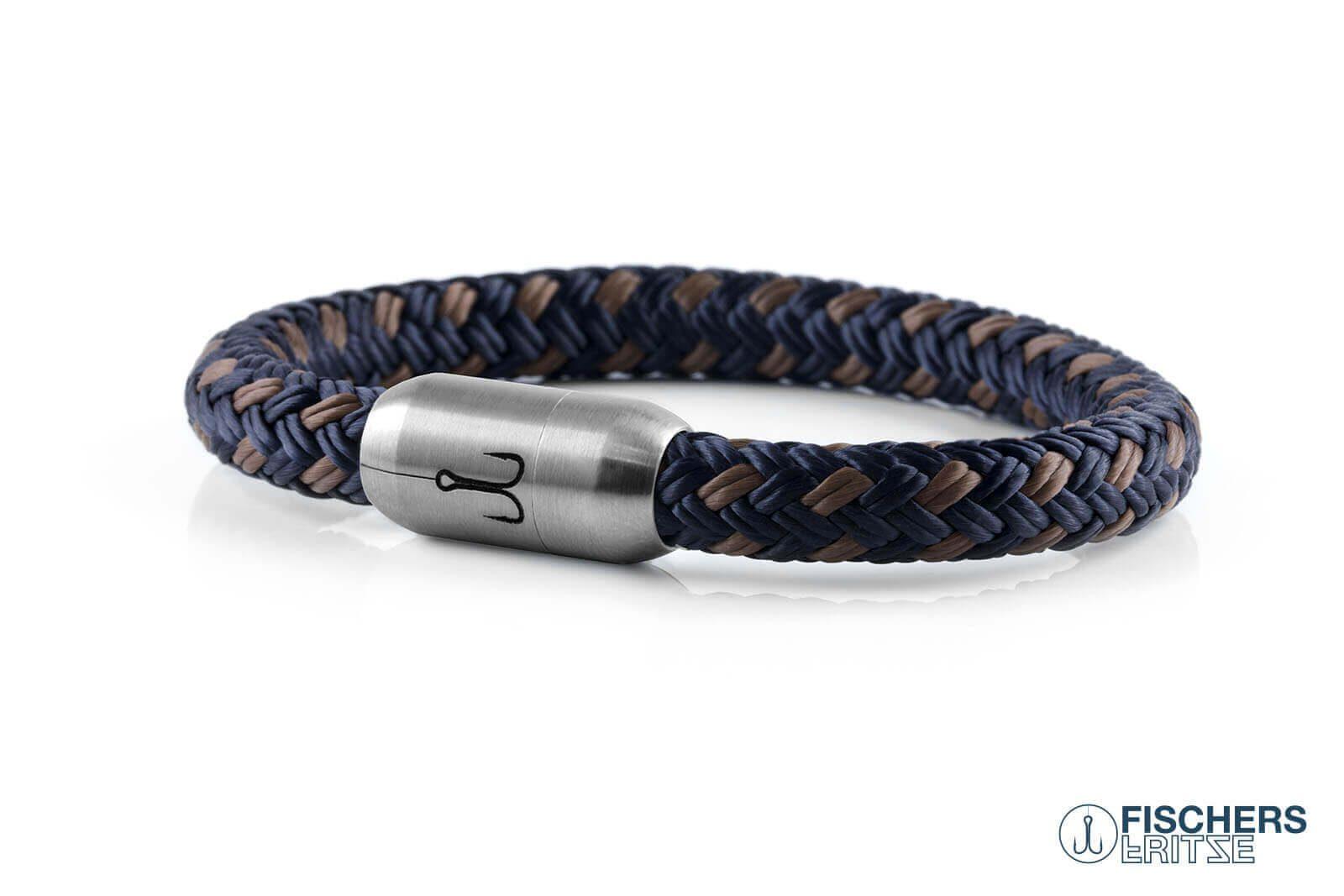 Armband marineblau silbergrau von Fischers Fritze, aus Segeltau