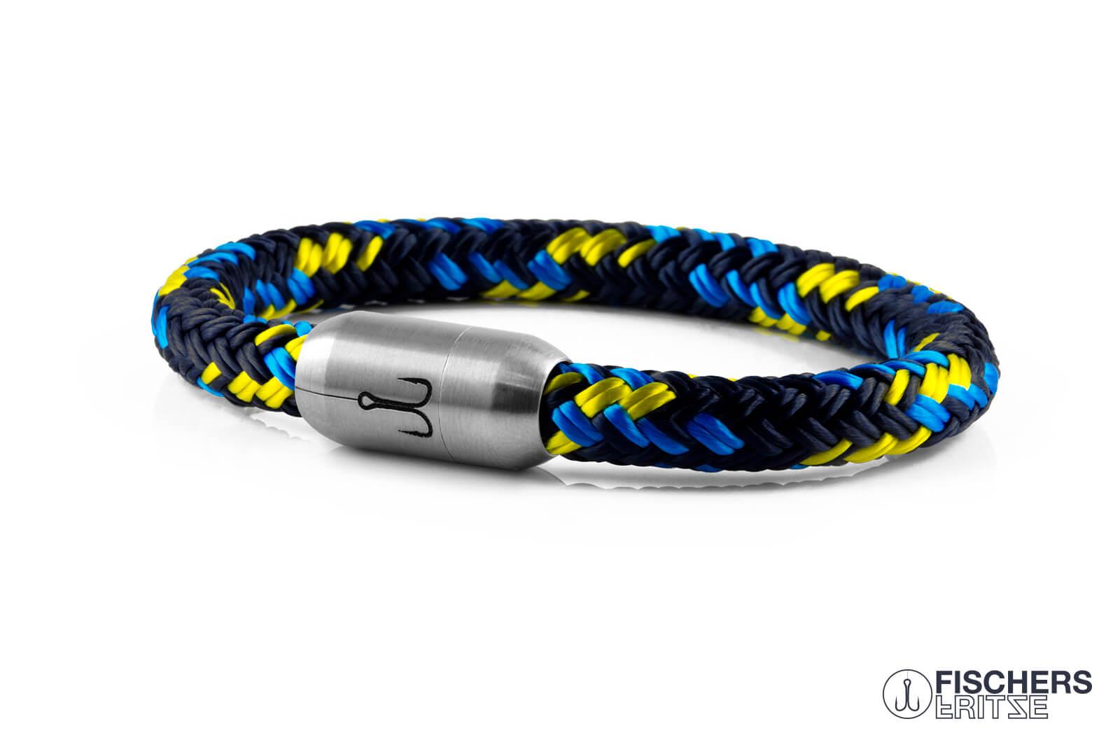 armband-fischers-fritze-makrele-marineblau-stahlblau-gelb-segeltau