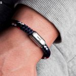 Maritime Fischers Fritze wrist strap made of rope, Mackerelnavy blue red white, stainless steel engraving, wrapped around wrist