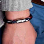 Bracelet Fischers Fritze MackerelOskar from sail rope navy blue red white, stainless steel engraving with fish hook