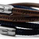 Armband Kombination Leder und Segeltau, Garnele mit Fischers Fritze Ledergravur aroundtheworld