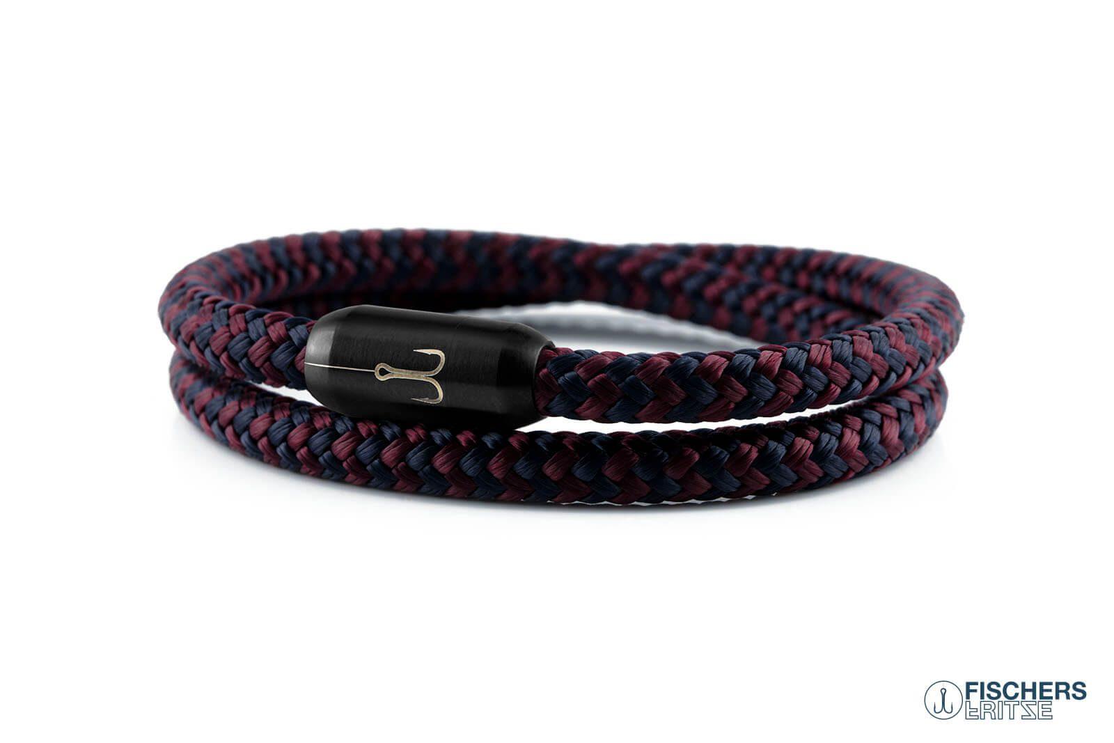 Wickelarmband Fischers Fritze, Torpedogarnele Segeltau marineblau dunkelrot, Gravur Edelstahl-Magnetverschluss schwarz