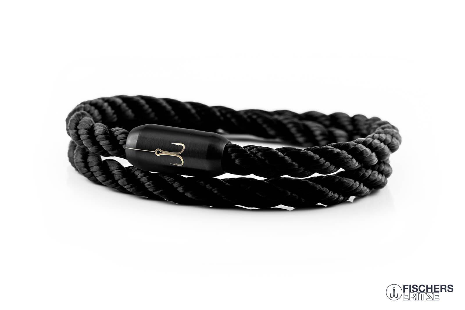 armband fischers fritze torpedogarnele schwarz gedreht segeltau edelstahl magnetverschluss