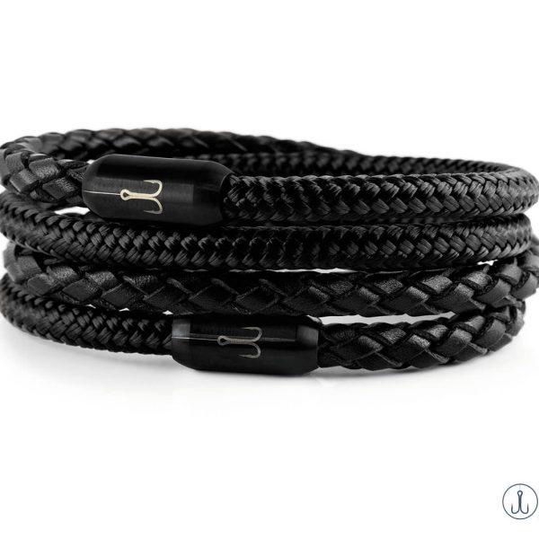 Wickelarmband Kombination Leder schwarz geflochten und Segeltau schwarz mit Fischers Fritze Edelstahl Gravur