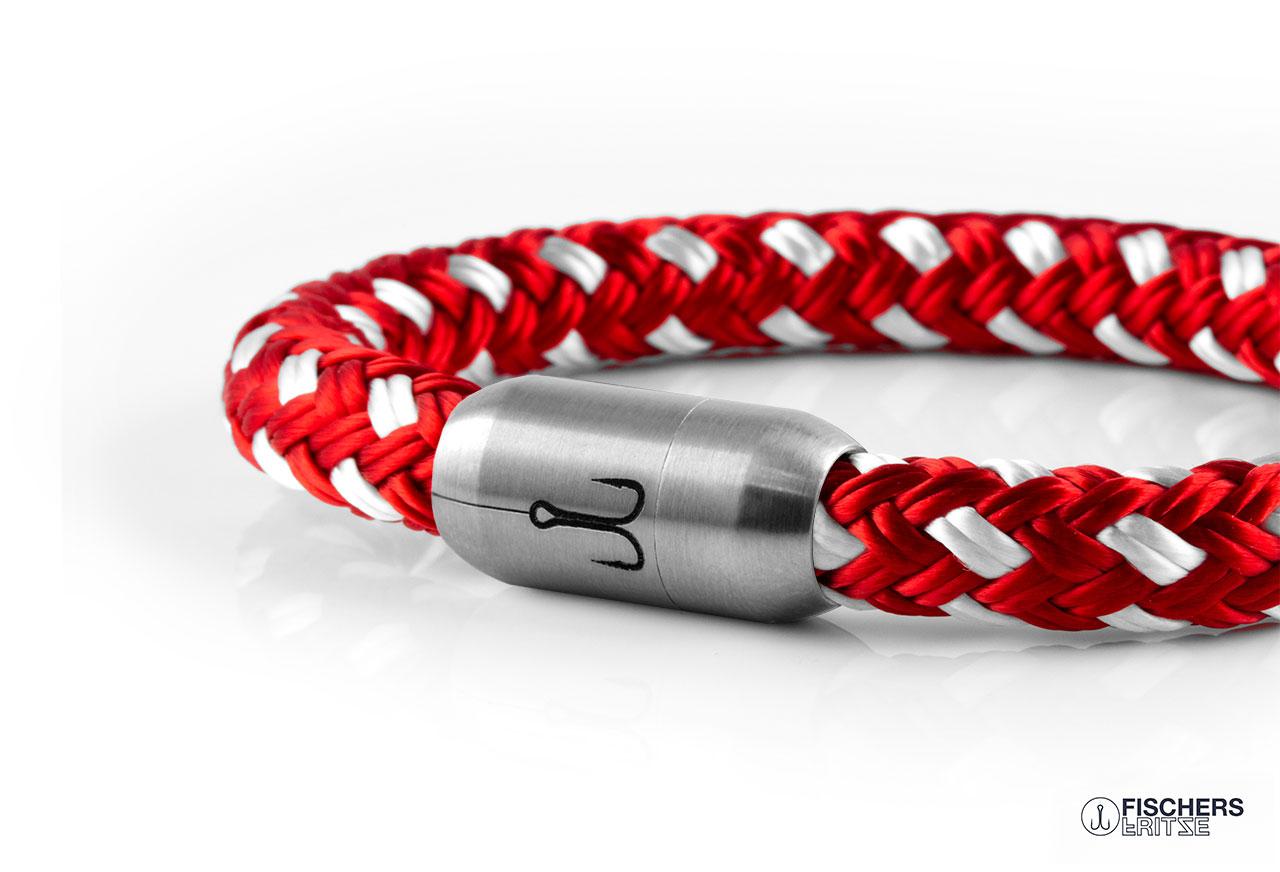 armband fischers fritze makrele rot weiss segeltau edelstahl magnetverschluss amz